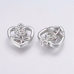 Пластмассовые подвески ccb, Сердце со цветками , платина, 18.5x16x4 мм, отверстие : 1.5 мм(CCB-G006-041P)