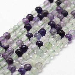 """Chapelets de perles en fluorite naturelle, rond, grade AB, 4mm, trou: 1mm; environ 96 pcs/chapelet, 14.9''~15.1""""(G-G735-25-4mm-AB)"""