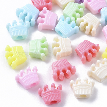 Opaque Polystyrene Plastic Beads, Crown, Mixed Color, 10.5x13x6mm, Hole: 3.5mm, about 100pcs/50g(X-KY-I004-16)