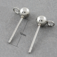 Accessoires de clous d'oreilles avec boucle en 304 acier inoxydable de couleur originale, avec boucle, 12mm, pin: 0.8 mm, Trou: 2mm