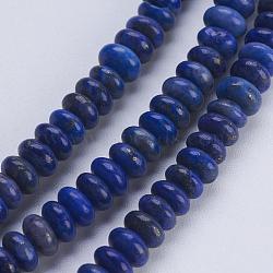 Chapelets de perles en lapis-lazuli naturel, rondelle, 4.5~5x2~2.5mm, trou: 0.8mm; environ 166 pcs/chapelet, 15.3'' (38.5 cm)(G-P354-10-4x2mm)