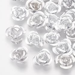 Perles en aluminium, Flower 3 pétales, fumée blanche, 8.5~9x4.5mm, trou: 1 mm; environ 950 PCs / sachet (FALUM-T001-01B-12)