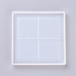 Moules en silicone, moules de résine, pour la résine UV, fabrication de bijoux en résine époxy, Coaster, carrée, clair, 113x113x12mm(DIY-G009-21)