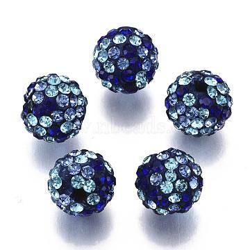 Polymer Clay Rhinestone Beads, Pave Disco Ball Beads, Round, Aquamarine, PP13(1.9~2mm), 6 Rows Rhinestone; 10mm, Hole: 1.5mm(RB-N051-011C)