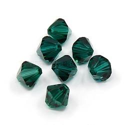 Perles de cristal autrichien, 8mm 205_emerald 5301_bicone, 8x8mm, Trou: 1mm(X-5301-8mm205)