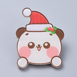 Acrylic Safety Brooches, with Iron Pin, For Christmas, Christmas Bear, Colorful, 45x35x8mm; Pin:0.8mm(JEWB-D006-A13)