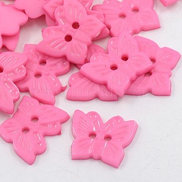 Acrylic Buttons, 2-Hole, Dyed, Butterfly, Pink, 18x15x2mm, Hole: 1mm(BUTT-E054-A-10)