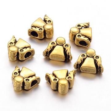 Tibetan Style Alloy Beads, Cadmium Free & Nickel Free & Lead Free, Angel, Antique Golden, 10x13x6mm, Hole: 3mm(X-TIBEB-9909-AG-NR)