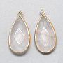 Natural Clear Quartz Pendants, with Golden Tone Brass Findings, Faceted, Drop, Clear, 32.5~33x16x6mm, Hole: 2.5mm