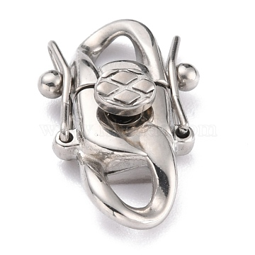 304 Stainless Steel Clasps, Stainless Steel Color, 21.5x13x6.5mm, Hole: 3x3.5mm(STAS-P273-01A-P)