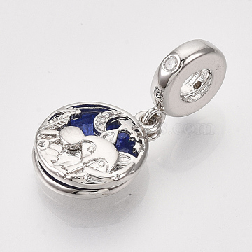 Brass Cubic Zirconia European Dangle Beads, Large Hole Pendants, with Blue Enamel, Flat Round with Fox, Real Platinum Plated, 26mm, Hole: 4mm; Flat Round: 15x13x4.5mm(X-ZIRC-S061-160P)