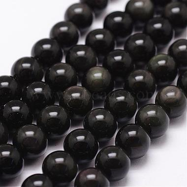 10mm Coffee Round Obsidian Beads