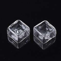 perles de verre soufflé à la main, pour stud boucles d'oreilles de décision ou de l'artisanat, la moitié foré, carré, effacer, 25x25x12.5 mm, demi-trou: 4~5.5 mm(X-BLOW-T001-16C)