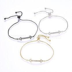 """Bracelets réglables en laiton à micro-pavé de zircons cubiques, Bracelets coulissants, flèche, clair, couleur mixte, 10-5/8"""" (27cm); 1.2mm(BJEW-H583-24)"""