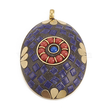 Handmade Indonesia Big Pendants, with Unplated Brass Findings, Oval, Mauve, 65x43x14mm, Hole: 5mm(X-IPDL-N001-06A)