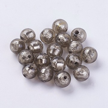 10mm Gray Round Silver Foil Beads