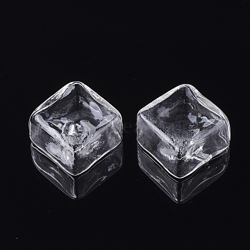 25mm Clear Square Glass Beads