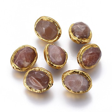 17mm Oval Sunstone Beads