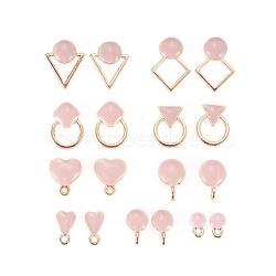 Accessoires de clou d'oreille en alliage, avec émail et boucle, formes mixtes, or, rose, 18 pièces / kit(ENAM-X0017-12LG)