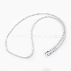 """Colliers à mailles en laiton, avec des perles de verre à l'intérieur, clair, platine, 25.6~26"""" (65~66 cm)(NJEW-F241-01P-B)"""