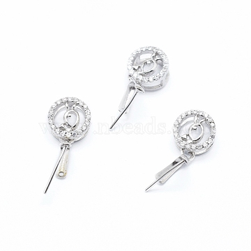 925 Sterling Silver Pendant Ice Pick Pinch Bails, with Clear Cubic Zirconia, Flat Round, Platinum, 16mm, Hole: 2.5X3.5mm, Pin: 0.6mm(STER-I017-072P)