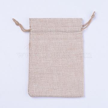 Burlap Packing Pouches, Drawstring Bags, PapayaWhip, 14.5x10.5x0.5cm(ABAG-WH0023-03E)