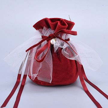 Velvet Jewelry Drawstring Gift Bags, with Plastic Imitation Pearl & White Yarn, Wedding Favour Candy Bags, DarkRed, 14.2x14.9x0.4cm(TP-M001-02A)