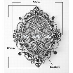 Cabochon support ovale en alliage, sans plomb et sans nickel, argent antique, 68x53x3mm, Trou: 4.5mm(X-PALLOY-A17035-AS)