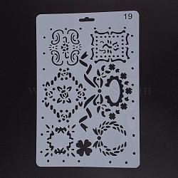 Modèles de pochoirs de peinture de dessin en plastique, rectangle, blanc, 25.5x17.4x0.04 cm(DIY-F018-B19)
