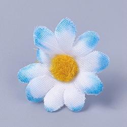 tournesol en tissu de soie, tête de fleur artificielle, pour la décoration de fête de mariage, skyblue, 40x16~17 mm; diamètre intérieur: 2 mm(DIY-WH0134-A13)