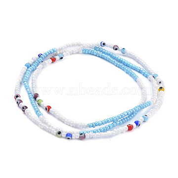 Summer Jewelry Waist Bead, Body Chain, Seed Beaded Belly Chain, Bikini Jewelry for Woman Girl, with Evil Eye Lampwork, Colorful, 33.46 inches(85cm)(X-NJEW-C00011)