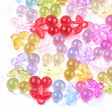 Transparent Acrylic Pendants, Cherry, Mixed Color, 25.5x21x11.5mm, Hole: 3.5mm(X-TACR-T005-10)