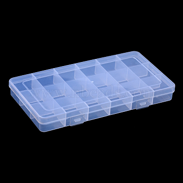 Polypropylene(PP) Bead Storage Container, 18 Compartment Organizer Boxes, Rectangle, Clear, 19.1x10x2.2cm, Compartment: 3x3cm(X-CON-S043-001)