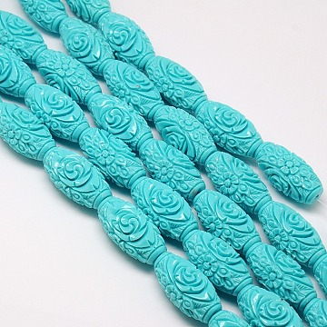 Synthetic Coral Beads Strands, Dyed, Oval Carved Flower Rose, Turquoise, 18x9~10mm, Hole: 1mm; about 22pcs/strand, 15.74inches(X-CORA-L031-8mm-03)