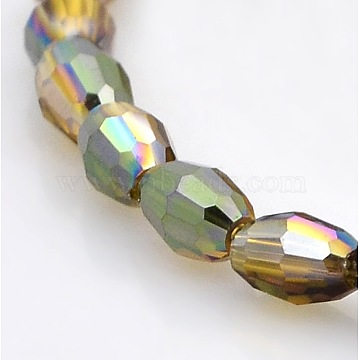 6mm DarkKhaki Rice Electroplate Glass Beads