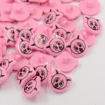 Acrylic Shank Buttons, 1-Hole, Dyed, Sheep, Pink, 18x17x4mm, Hole: 4mm(X-BUTT-E005-B-08)
