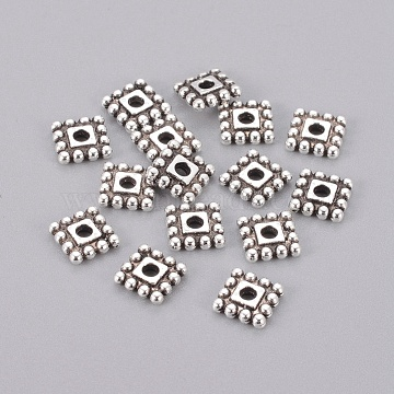 7mm Antique Silver Square Alloy Spacer Beads