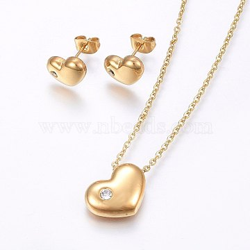 304 Stainless Steel Jewelry Sets, Stud Earrings and Pendant Necklaces, with Rhinestone, Heart, Golden, Necklace: 17.7 inches(45cm); Stud Earrings: 8x11x3.5mm; Pin: 0.8mm(X-SJEW-O090-32G)