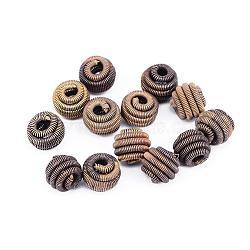 Perles de printemps en laiton, Perles de bobine, sans nickel, rond, non plaqué, 8x7mm, Trou: 2x3mm(KK-F713-49C-8x7mm)