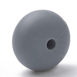 Экологические силиконовые бусины, жевательные бусины для чайников, DIY уход за ожерельем, плоско-круглые, сине-серые, 14x8 мм, отверстие : 3 мм(SIL-Q001B-15)