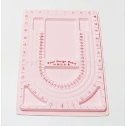 Пластиковые бисера доски дизайна, розовый, размер: около 24 cm в ширину, 33 cm, 1 cm(X-TOOL-H003-2)