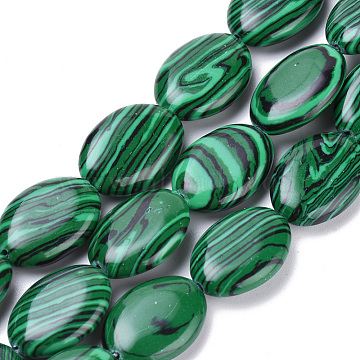 18mm Oval Malachite Beads