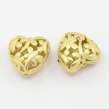 Brass Hollow Beads, Heart, Golden, 15x14x9.5mm, Hole: 1mm(KK-D252-01G)