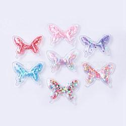 décoration pvc et paillette, diy artisanat décoration, papillon, couleur mélangée, 41x51x7.5 mm(X-AJEW-F037B)