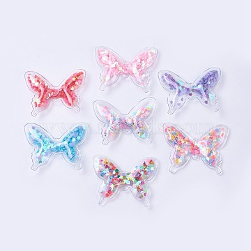 PVC and Paillette Decoration, DIY Craft Decoration, Butterfly, Mixed Color, 41x51x7.5mm(X-AJEW-F037B)
