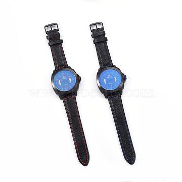 Wristwatch, Quartz Watch, Alloy Watch Head and PU Leather Strap, Mixed Color, 10-1/4 inch(26.1cm), 20x3mm, Watch Head: 46x50.5x13mm(WACH-I017-05)