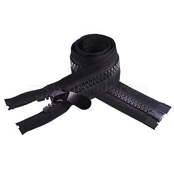 BENECREAT Garment Accessories, Nylon and Resin Zipper, Zip-fastener Component, Black, 800x48x4.5mm(FIND-BC0002-02)