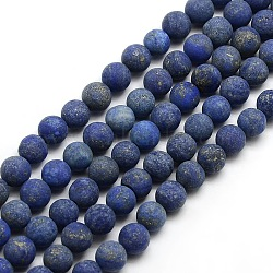Natural Frosted Lapis Lazuli Round Bead Strands, Dyed & Heated, 4mm, Hole: 1mm; about 93~96pcs/strand, 14.9~15.6inches