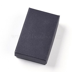 Kraft Cotton Filled Cardboard Paper Jewelry Set Boxes, for Jewelry and Gift, Rectangle, Black, 8x5x2.7cm(CBOX-G015-04)