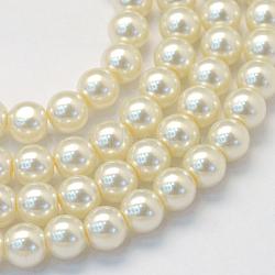 """Chapelets de perle en verre peint de cuisson, nacré, rond, lightyellow, 3~4mm, trou: 0.5mm; environ 195 pcs/chapelet, 23.6""""(X-HY-Q003-3mm-02)"""
